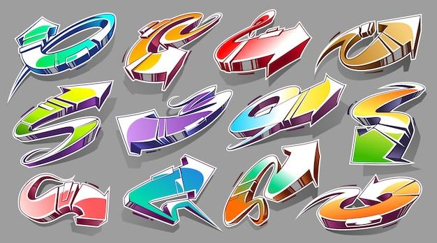 Insieme di vettore delle frecce astratte dei graffiti con colori vivaci. frecce di stile selvaggio 3d. insieme di vettore di elementi di design di arte di strada.