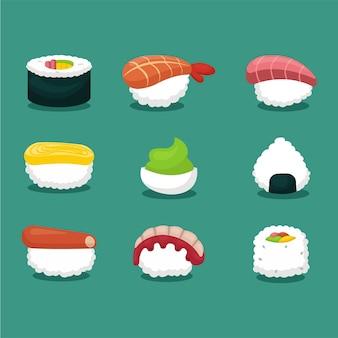 Insieme di vettore delle icone dei sushi con stile piano