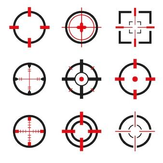 Insieme di vettore delle icone del crosshair isolato