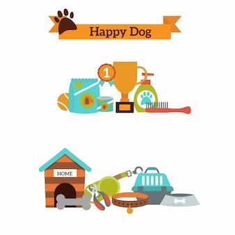 Insieme di vettore delle icone di colore per cibo per animali domestici del cane, vettore degli accessori dell'animale domestico.