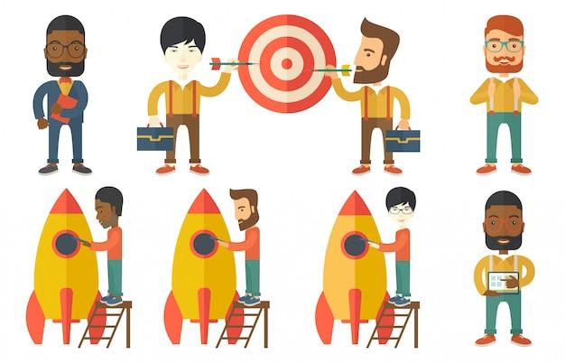 Insieme di vettore delle illustrazioni con uomini d'affari.