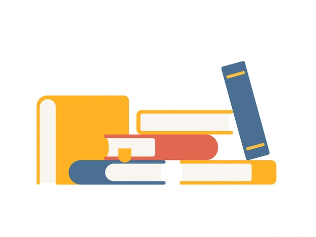 Insieme di vettore delle pile variopinte di libri in stile piano