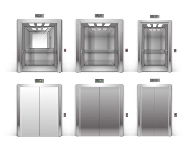 Insieme di vettore delle porte dell'ascensore dell'edificio per uffici in metallo cromato aperto e chiuso realistico