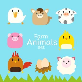 Insieme di vettore di animali da fattoria paffuto carino.