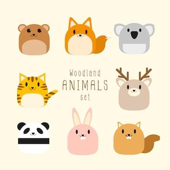 Insieme di vettore di animali di bosco paffuto carino.