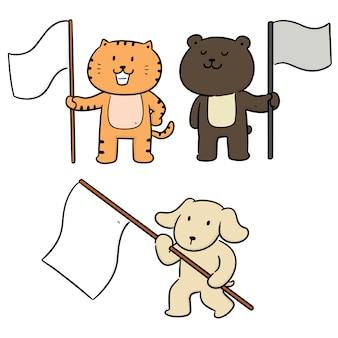 Insieme di vettore di animali e bandiera