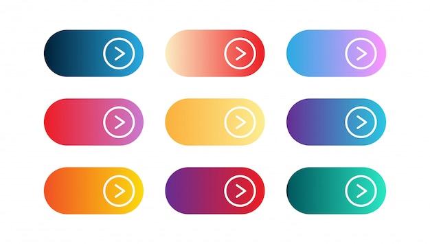 Insieme di vettore di app gradiente moderno o piccoli pulsanti di gioco. pulsante web dell'interfaccia utente, progettazione del materiale, chiama subito l'azione