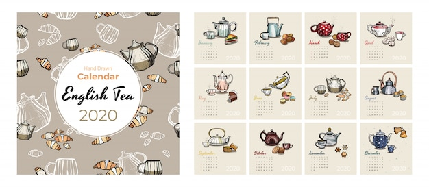Insieme di vettore di arte cibo e tè calendario 2020. calendario abbozzato tea party. imposta pagine di 12 mesi. teiere, tazze, biscotti
