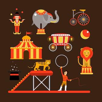Insieme di vettore di artisti di circo, acrobati e animali isolati