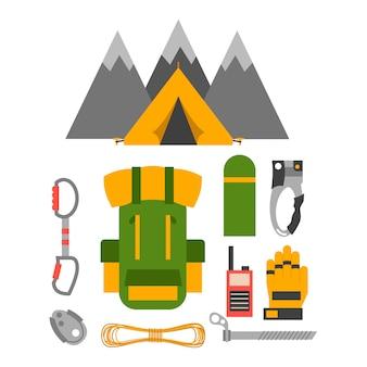 Insieme di vettore di attrezzatura trekking arrampicata.