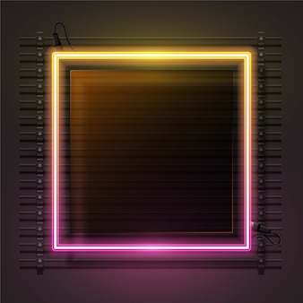Insieme di vettore di bandiera al neon e vetro gradiente