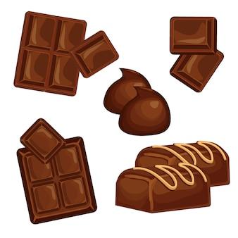 Insieme di vettore di barre e pezzi di cioccolato