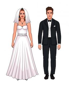Insieme di vettore di bella coppia appena sposata europea. ragazza dell'omino di carta in vestito da sposa e tipo nel vestito di nozze isolato