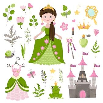Insieme di vettore di bella principessa, castello e accessori