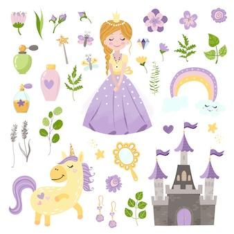 Insieme di vettore di bella principessa, castello, unicorno e accessori