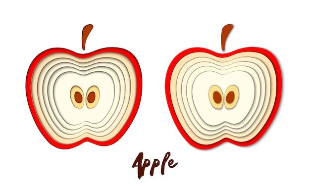 Insieme di vettore di carta tagliata mela rossa, forme tagliate