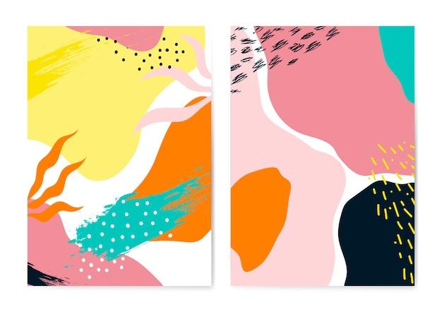 Insieme di vettore di carte colorate stile memphis
