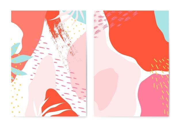 Insieme di vettore di carte stile colorato memphis