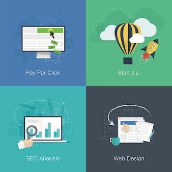 Insieme di vettore di concetti di business sviluppo piatto web