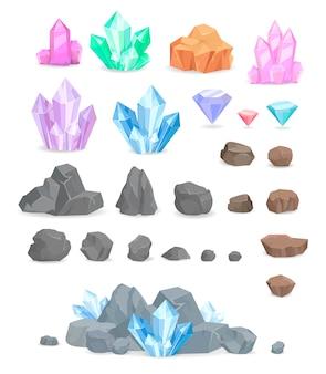 Insieme di vettore di cristalli e pietre naturali