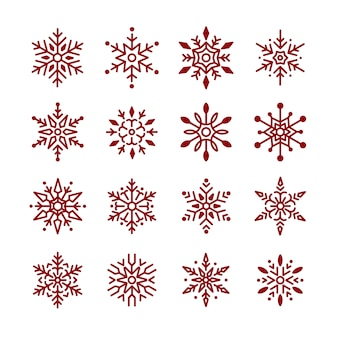Insieme di vettore di disegno di natale fiocchi di neve
