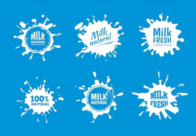 Insieme di vettore di distintivi di latte. splash bianco e disegno della macchia