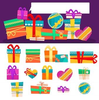 Insieme di vettore di diversi contenitori di regalo colorati con nastri e fiocchi. design piatto.
