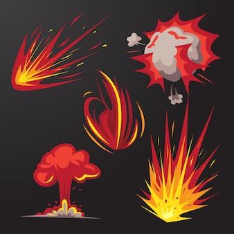 Insieme di vettore di effetto esplosione bomba