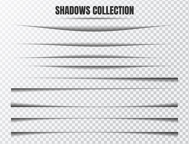 Insieme di vettore di effetto ombra realistico componenti separati su trasparente