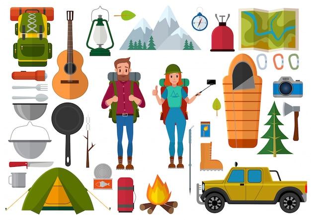 Insieme di vettore di escursionismo persone ed elementi di campeggio