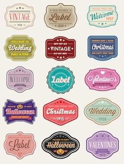 Insieme di vettore di etichette di design premium in stile retrò vintage o distintivi