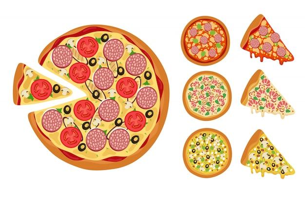 Insieme di vettore di fette di pizza intera calda isolato su bianco