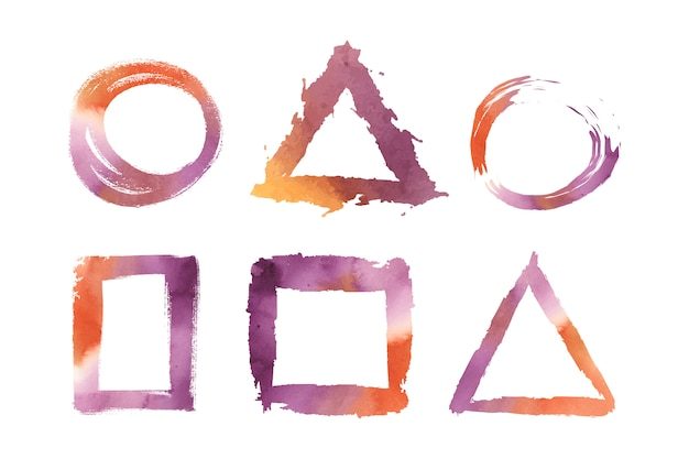Insieme di vettore di forme geometriche dell'acquerello