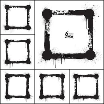 Insieme di vettore di forme quadrate astratte di lerciume. cornici di grunge vettoriale