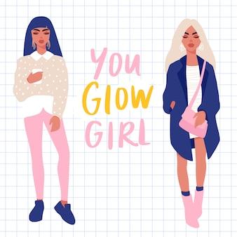 Insieme di vettore di giovani donne ragazze alla moda in vestiti alla moda isolati