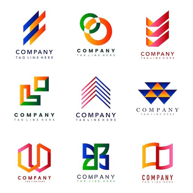 Insieme di vettore di idee di progettazione di logo dell\u0027azienda