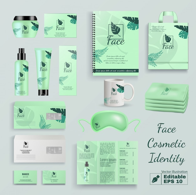 Insieme di vettore di identità del prodotto cosmetico viso