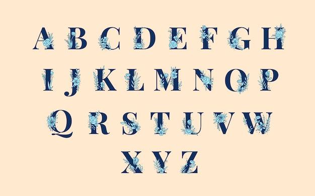 Insieme di vettore di lettere maiuscole alfabeto botanico