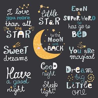 Insieme di vettore di lettering di notte con frasi simpatico cartone animato