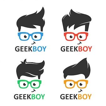 Insieme di vettore di logo del ragazzo del nerd o del geek