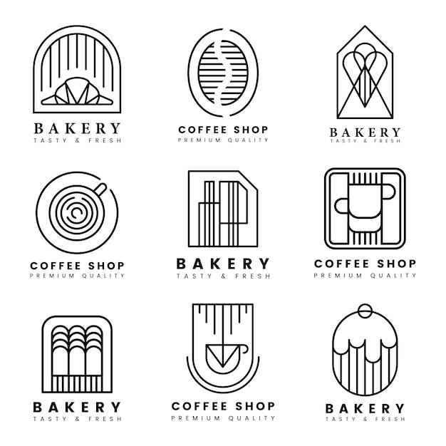 Insieme di vettore di logo di pasticceria e caffè