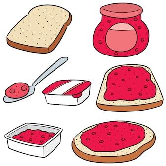 Insieme di vettore di marmellata e pane