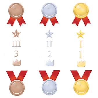 Insieme di vettore di medaglie con numeri