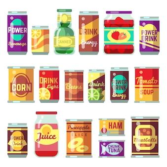 Insieme di vettore di merci in scatola. cibo in scatola, conservazione di zuppa di pomodoro e verdure. conserva il contenitore di latta, illustrazione di zuppa di pomodoro in scatola