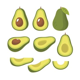 Insieme di vettore di mezza fetta e intero di avocado fresco