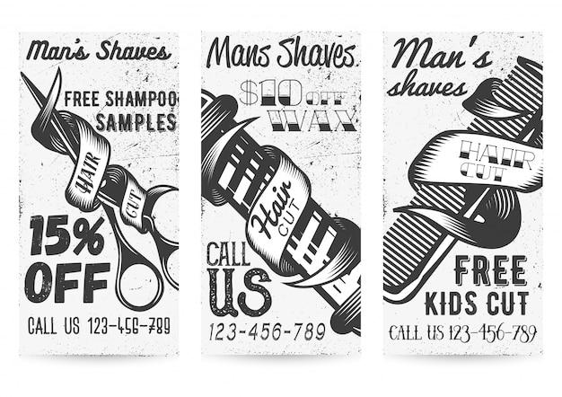 Insieme di vettore di modelli di banner in bianco e nero per le offerte di negozi di barbiere e promozioni in stile vintage.