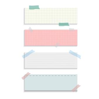 Insieme di vettore di note di carta di promemoria di rettangolo
