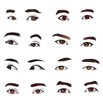 Insieme di vettore di occhi realistici
