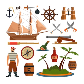Insieme di vettore di oggetti di pirati di mare ed elementi di design in stile piano. nave pirata, armi, isola.