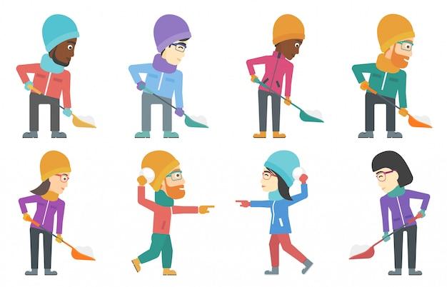 Insieme di vettore di personaggi di persone in inverno.